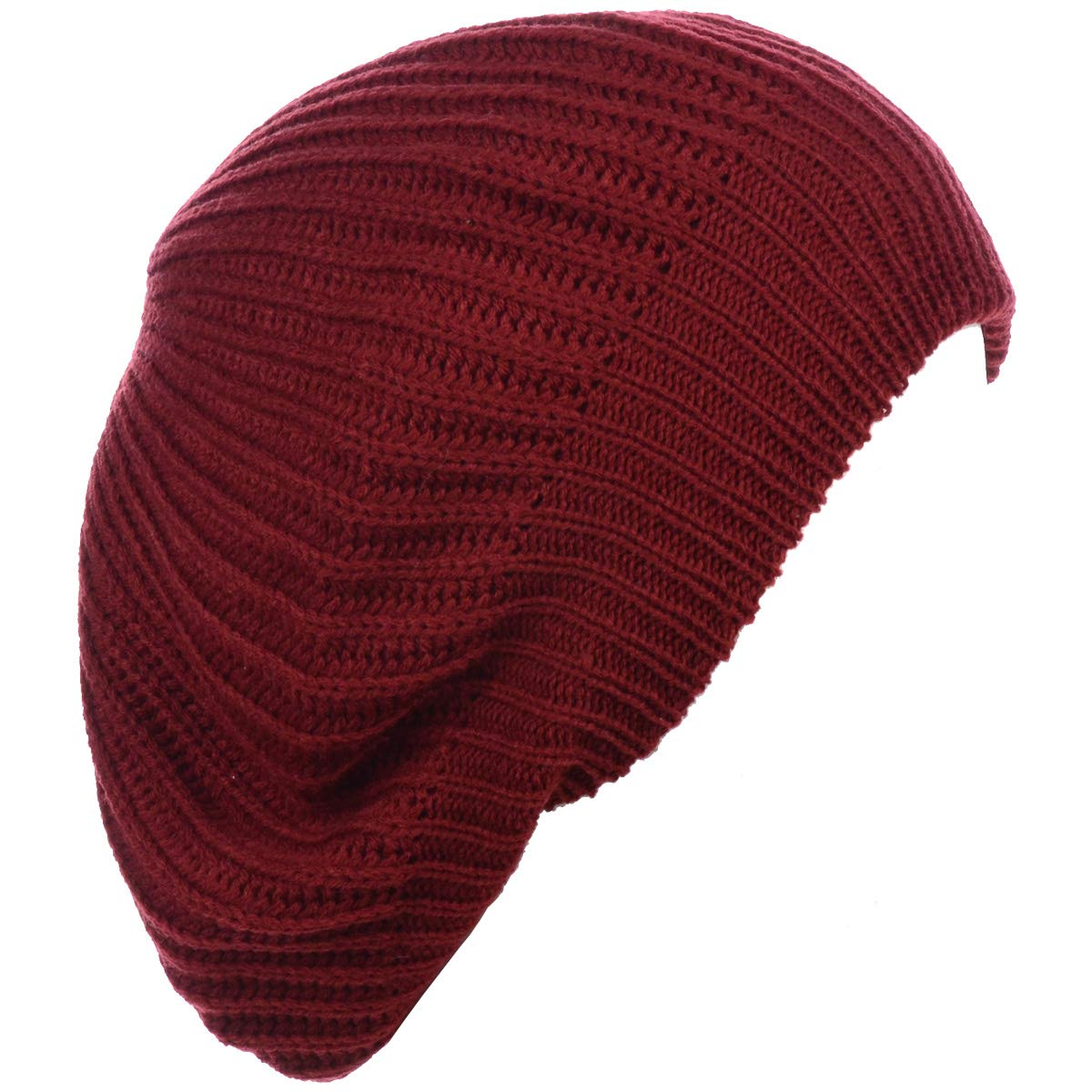 Be Your Own Style BYOS Ladies Winter Solid Chic Slouchy Ribbed Crochet Knit Beret Beanie Hat