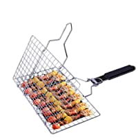 Ou Chang Barbecue Grilling Basket Large Pieghevole Portatile Antiaderente Rack in Acciaio Inox Carne Pesce Verdura Hamburger Barbecue Grill arrosto Folder Tool con Manico Staccabile Anti Scald Wood
