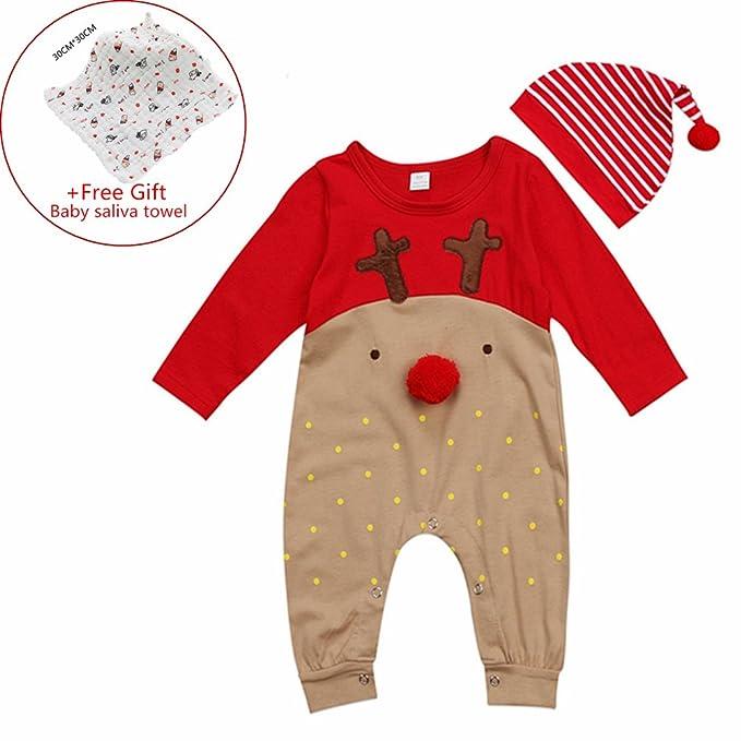 Pagliaccetti Pigiami,Bambino Ragazze Ragazzi di Natale,Casual Caldi Moda Inverno Pantaloni Manica Lunga,Vestiti della Tuta del Pagliaccetto Senza Maniche del Neonato