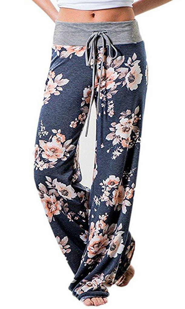 AMiERY Womens Summer Joggers Floral Loose Pajamas Lounge Palazzo Pants (Tag XXL(US 16), Blue)