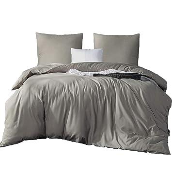 Amazonde Bettwäsche 200 X 220 Cm Bettbezug Uni Grau Mikrofaser