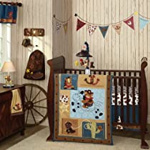 Lambs & Ivy Giddy Up 5 Piece Crib Bedding Set Brown/Blue