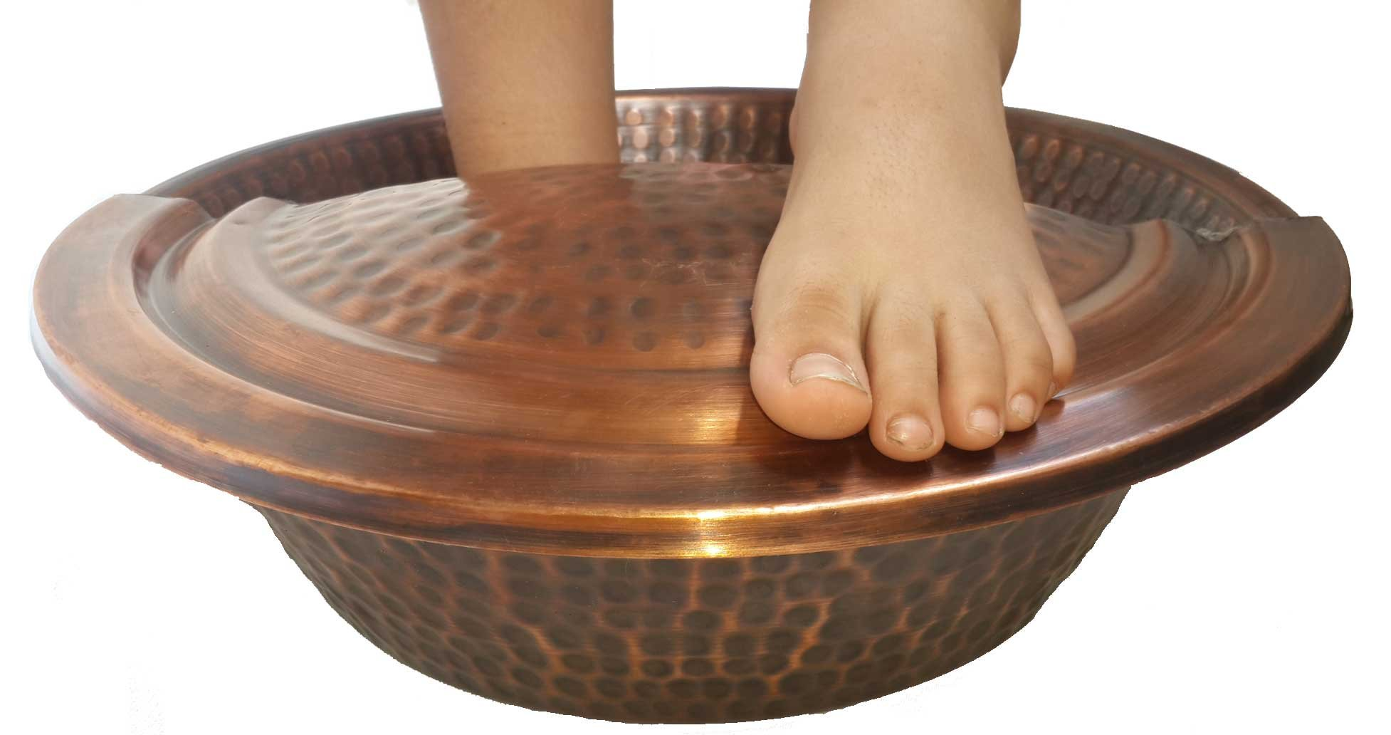 Antique Finish Pedicure Spa Foot Bath Soak Massage Therapy Copper Bowl + Rest