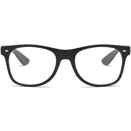 2f00c79ae12db Amazon.com  Amomoma Unisex Wayfarer Non-prescription Glasses Frame Clear  Lens Eyeglasses AM5015 With Black Frame Black Temple  Clothing