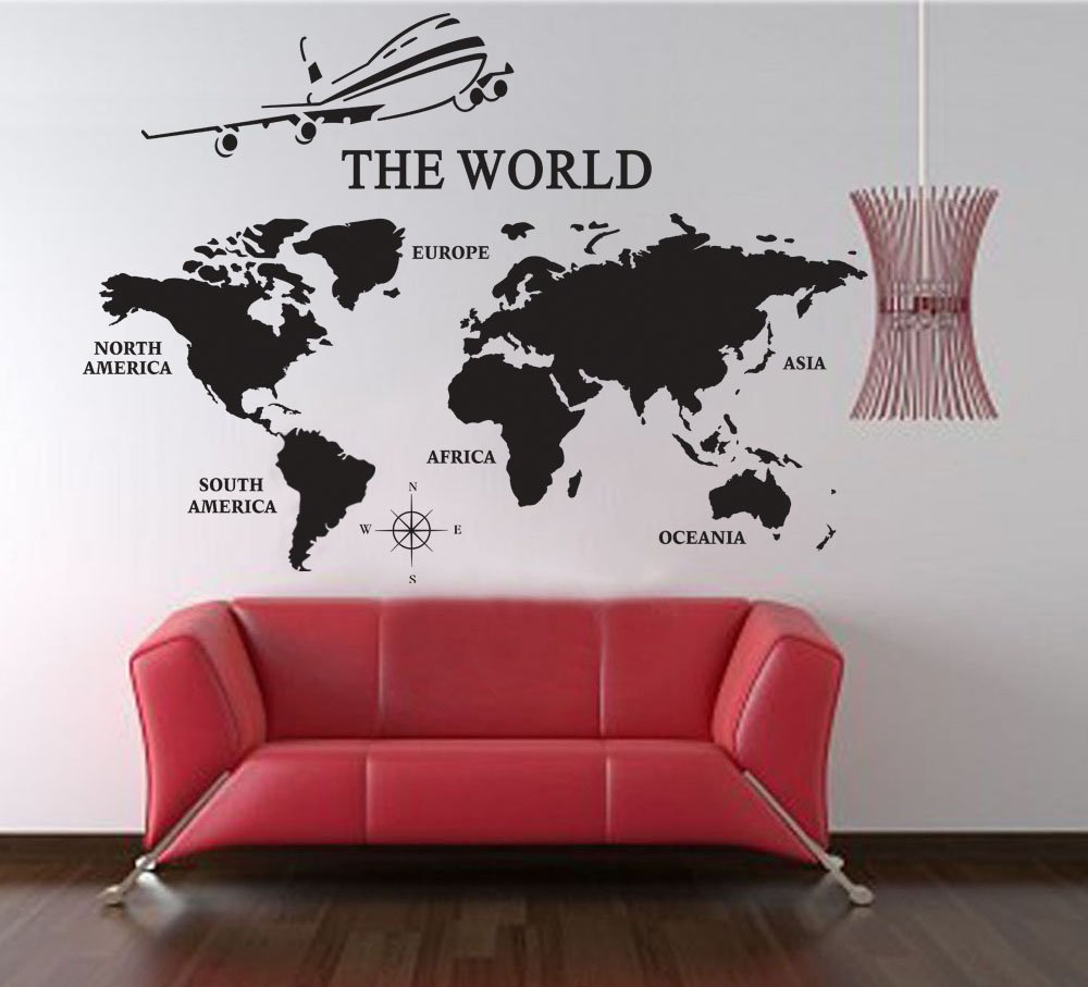 Amazon com large world map wall decals vinyl art sticker world map office decor home decor home kitchen