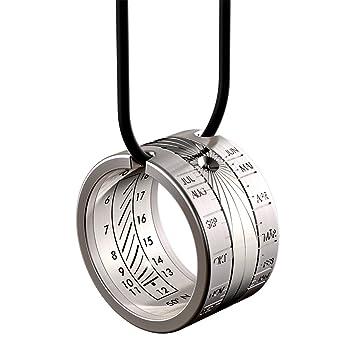 917713d173e8 Reloj de sol HELIOS anillo solar de acero inoxidable - anillo y colgante - Reloj  anular - Reloj solar de altura  Amazon.es  Jardín