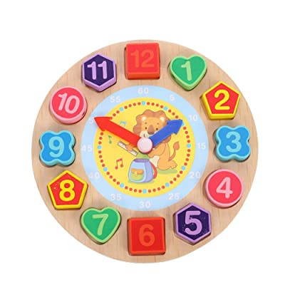 fidget pencil Shape Sorting Clock, Wooden Teaching Learning Puzzle Clock Educational Toys with Numbers, Tell The Time Clock Gifts for Kids Toddlers Boys and Girls( Lion): Toys & Games