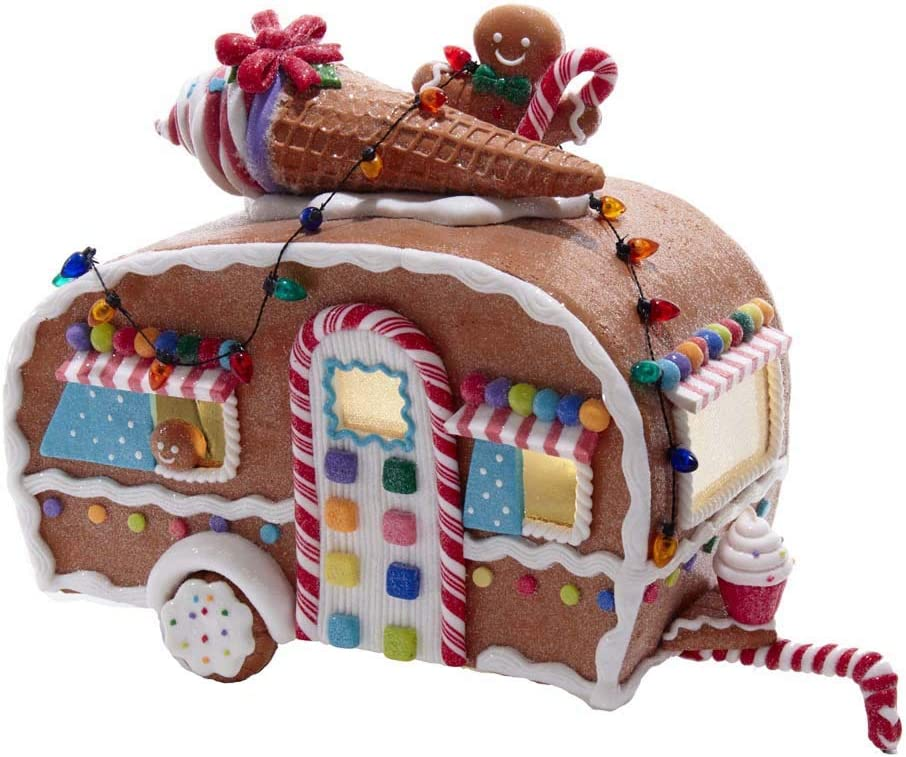 Kurt S. Adler 8.4-Inch Battery-Operated Light-Up Gingerbread Food Truck Table Piece, Multi