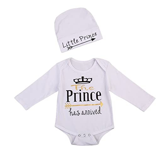 7276c4b79b4 Newborn Baby Boy Coming Home Outfit Long Sleeve Prince Bodysuit Romper with  Hat Clothes (0