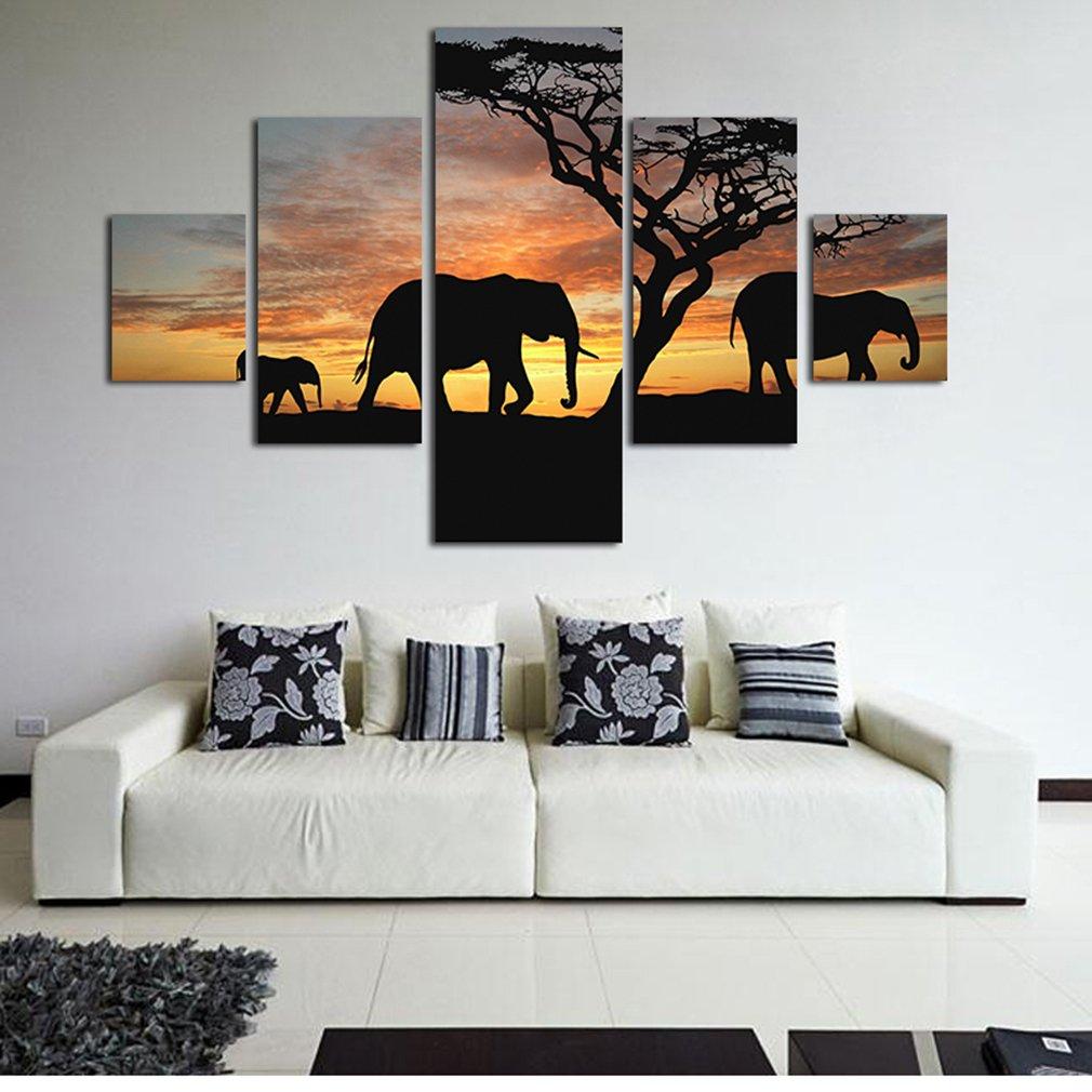 Amazon.com: Dolland 5pcs Sunset Elephant Print Oil Painting Canvas ...