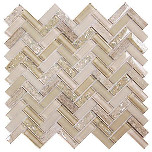 Archery Light Beige - Herringbone Pattern Glass Tile - Cracked and Iridescent Glass Mosaic with Stone for Backsplashes and Fireplace Surrounds (4 x 6 Inch Sample)