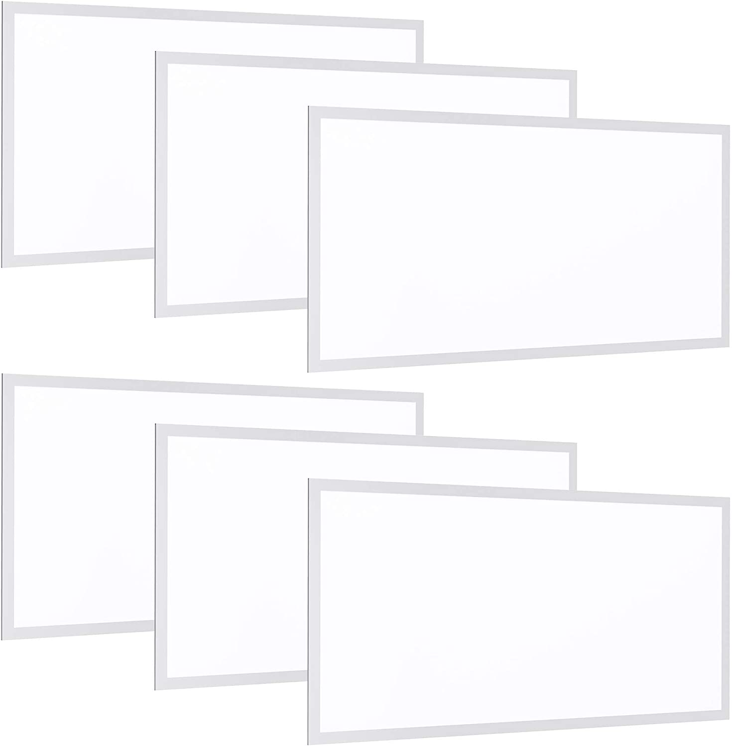 Sunco Lighting 6 Pack LED Ceiling Panel, 2x4 FT, 50W, Dimmable 0-10V, 5500 LM, 5000K Daylight,Flat Backlit Fixture, Direct Wire, Flush or Drop Ceiling Install, Dust Tight Commercial Grade - ETL, DLC