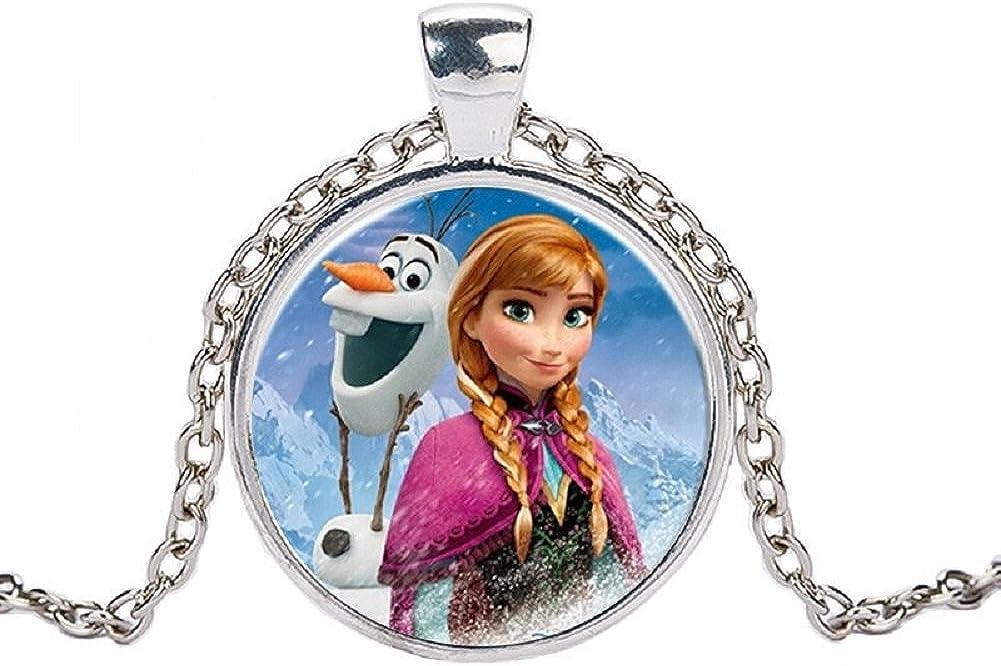 Elsa Anna Pendentif Collier la reine des neiges de Bande Dessin/ée Bijoux Collier Femmes Filles Cadeau Pour Enfants couleur argent