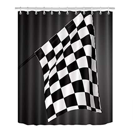 LB Black White Checkered Flag Motorsport Decor Shower Curtain For Bathroom Racing Game Sport Theme