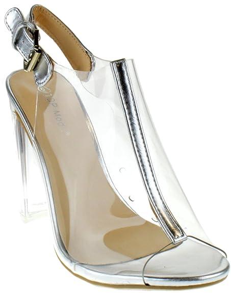 aa116c73ef8 TOP Moda Fenton 1 Womens Clear Chunky Heel Peep Toe Lucite Sandals