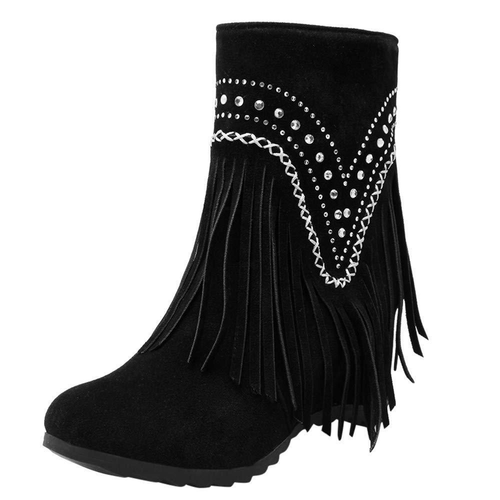 Shusuen Fringe Ankle Boot Western Cowboy Bootie Women Retro Ankle Boots Black