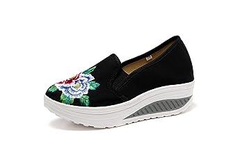 ZHRUI Zapatos Bordados Mujeres Flor Lona Rocker Sole Mocasines (Color : Negro, tamaño : EU 42): Amazon.es: Hogar