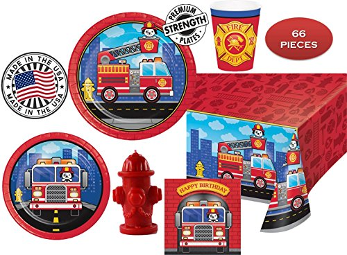 FLAMING FIRETRUCK Birthday Party Plates Napkins Cups Red Hydrant Candle Tablecover