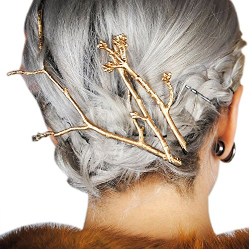 RechicGu Gold Plated Chic Runway 3Pcs Tree Branch Hair Pin Headband Dress Snap Barrette Clip Fascinator]()