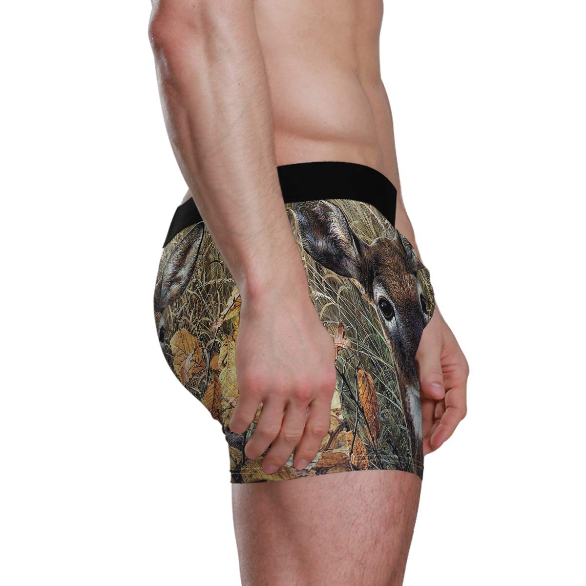 Deer in The Grass Mens Boxer Briefs Underwear Comfortable Breathable Tagless Short Leg Boxers Brief