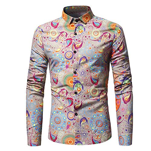 ZYEE Clearance Sale! Men's Blouse Fashion Personality Casual Slim Long-Sleeved Printed Shirt Top (Clothing 80's Disco)