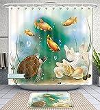 Unique Custom Bathroom 2-Piece Set Turtle Artistic Ocean Life Illustration Aquarium Tropical Animals Goldfishes And Seashells Multi Shower Curtains And Bath Mats Set, 71''Wx71''H & 31''Wx20''H
