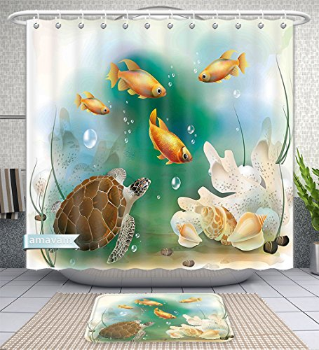 Unique Custom Bathroom 2-Piece Set Turtle Artistic Ocean Life Illustration Aquarium Tropical Animals Goldfishes And Seashells Multi Shower Curtains And Bath Mats Set, 71''Wx71''H & 31''Wx20''H by Amavam