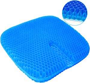 serene freestyle Gel Seat Cushion, Large Size Double Thick Breathable Honeycomb Design Cool Gel Cushion for Office Chair Car Wheelchair,Pressure Relief Back Tailbone Pain