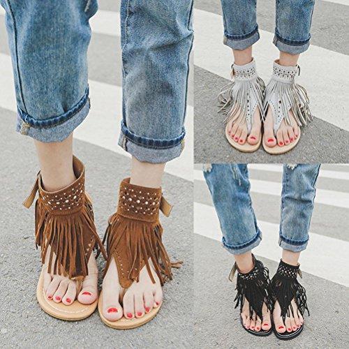 Transer Ladies Tassel Hollow Out Leisure Flat Sandals- Women Summer Bohemia Sandals Comfortable Shoes Casual Black R7uGo