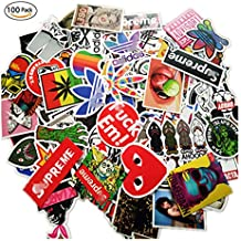 100 Pieces Waterproof Vinyl Stickers for Personalize Laptop, Car, Helmet, Skateboard, Luggage Graffiti Decals (D - section)
