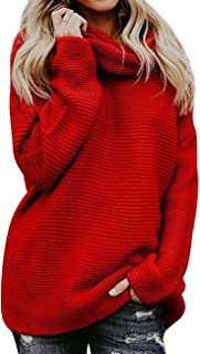 Poplover Womens Turtleneck Long Sleeve Knitwear Chunky Knit Sweater Jumpers Pullover Tops