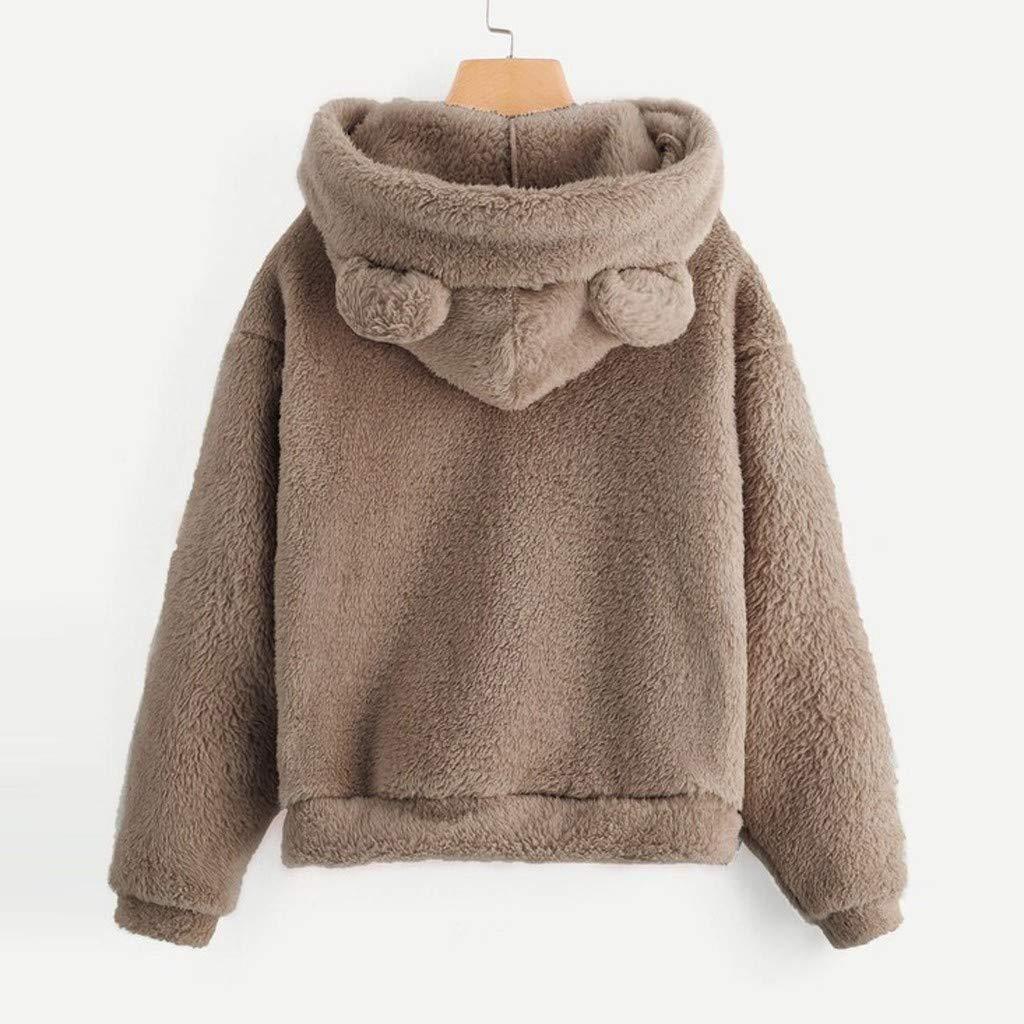 Fanteecy Womens Oversized Warm Double Fuzzy Hoodies Casual Loose Pullover Cute Ear Hooded Sweatshirt Outwear
