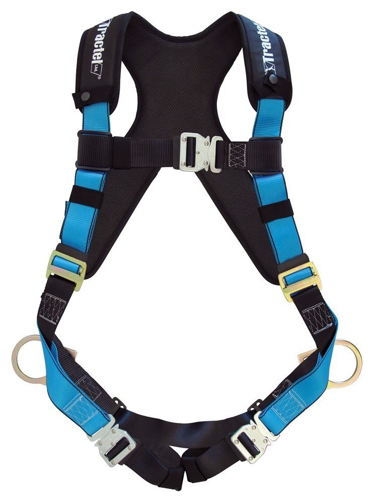Tractel AT742XL/XT Harness with Automatic Buckles, TracX Pad, Side-Positioning and Dorsal D-Ring, X-Large, Blue/Black