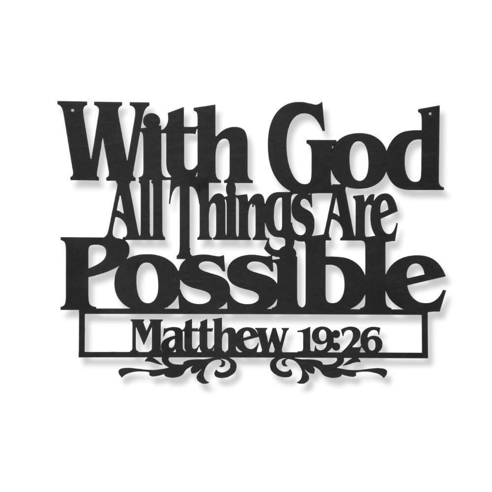 Inspirational Word Art, Christian Faith Biblical Verse Wall Sign, Hand-Made Wooden Decoration Plaque for Home, Office, Church (with God All Things are Possible.) by Memory Mats & Word Art