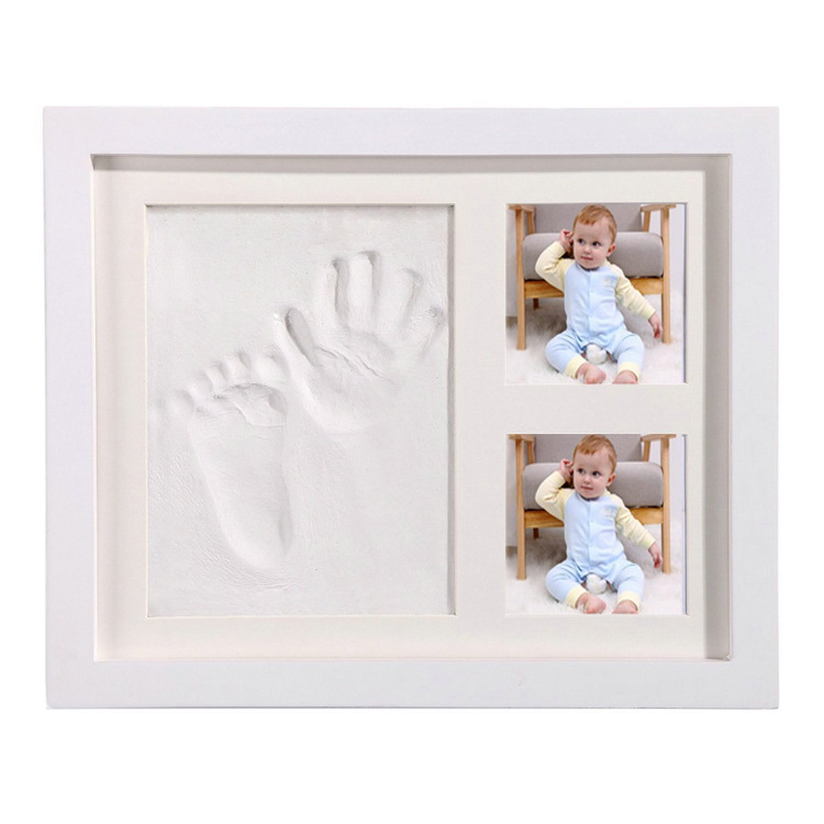 Hantajanss Baby Keepsake Frame Preserves Priceless Memories Baby Footprint Frame Kit for Baby Registry (White)