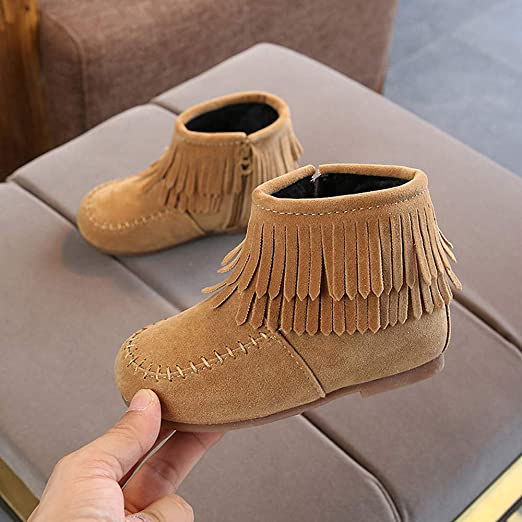 Amazon.com: Fashion Infant Girls Boys Tassel Martin Boots Warm Anti-slip Snow Boots Shoes Kids Baby Walking Shoes (Age:4-4.5T, Brown): Beauty