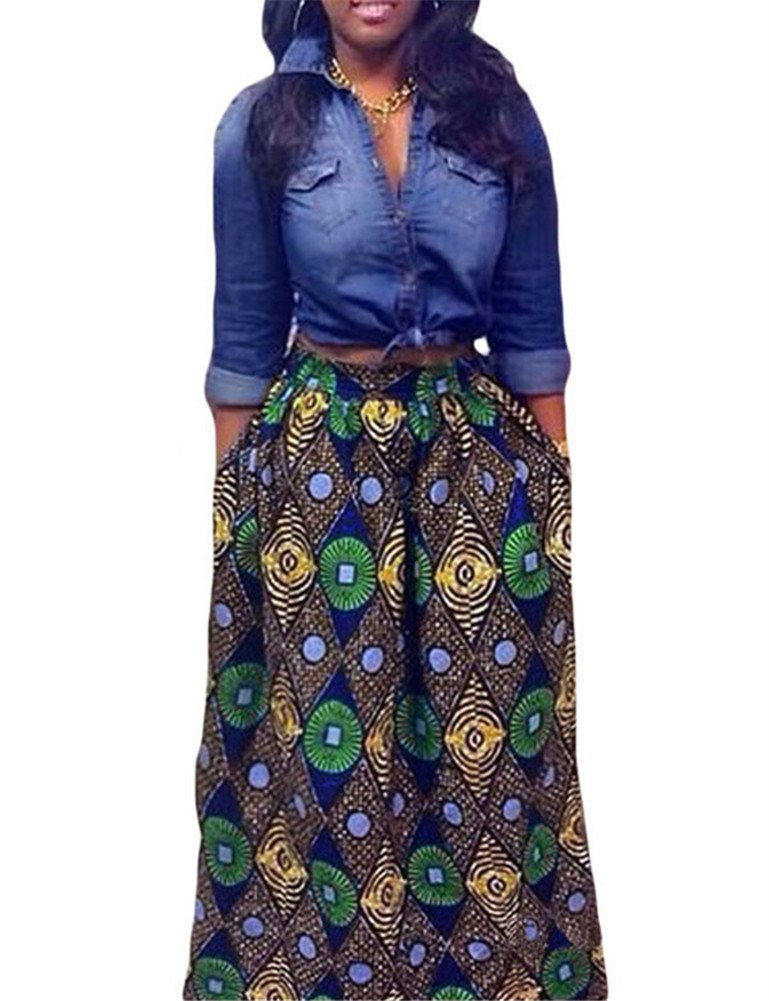 VIGVOG Women's Ethnic Plus-Size African Print Pull-on Maxi A-line Skirt (XL, LC65008-9)