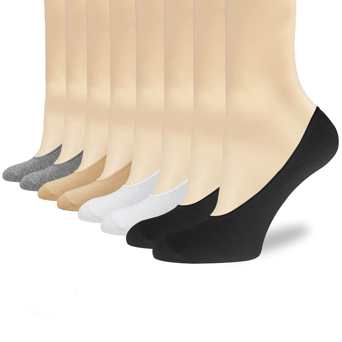 Women's No Show Socks 6 Pack Thin Casual Non Slip Cotton Invisible Sock Flat Boat Line with Gel Tab