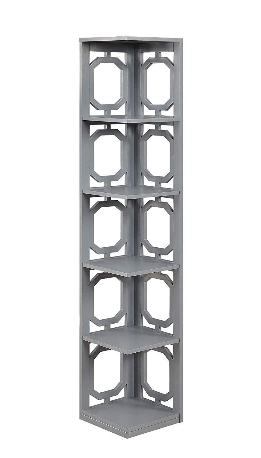 Convenience Concepts 203280GY Omega 5-Tier Corner Bookcase, Gray
