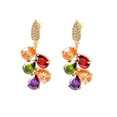 Yellow Chimes Multi color Swiss Cubic Zirconia 18K Real Gold Plated Dangle & Drop Earring for Women Earrings at amazon
