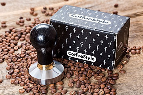 Coffee Tamper Elite for Espresso, Stainless Steel and Handle from Ash wood (49mm, Black)
