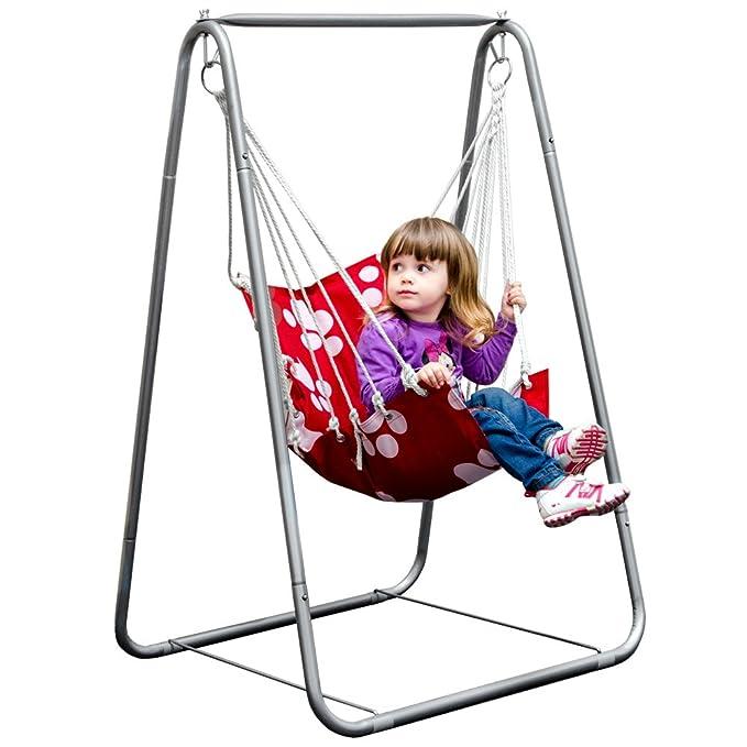eyepower Balançoire Siège + Support en fer | pour Enfants poids supporté max 50Kg | chaise avec dossier en nylon rembourrée pour etre accroché et se balancer | pour la maison et le jardin |
