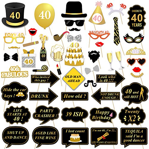 40th Birthday Party Photo Booth Props (53Pcs) for Her Him Funny 40 DIY Birthday Party Gold and Black Decorations, Konsait 40th Birthday Party Supplies for Men and (40th Birthday Party Decor)