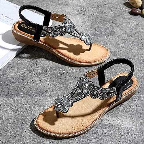 36 Selvaggi Donna Black Vacanza Piatti Moda Spiaggia Casuale Elastici 42 Boemia Scarpe Bling Non Per slip Shopping Bazhahei Sandali Da p7OTxwOq