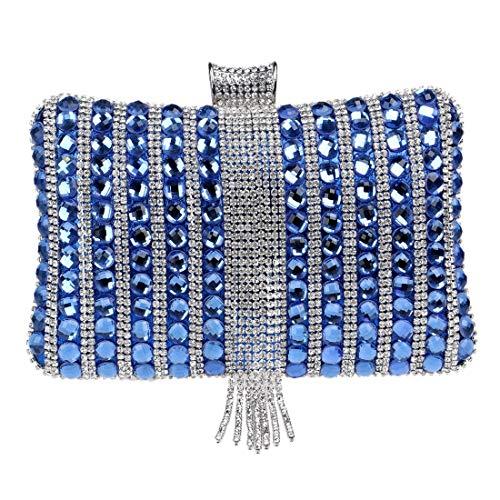 De Boda Bridge Cuentas Compras Mensajero Bolso Borla Metal Las Caramelo Crossbody Embrague Bolsos Diamantes Con Del Silver Blue Color Noche Mujeres Banquete Moda tamaño dXIwHqw