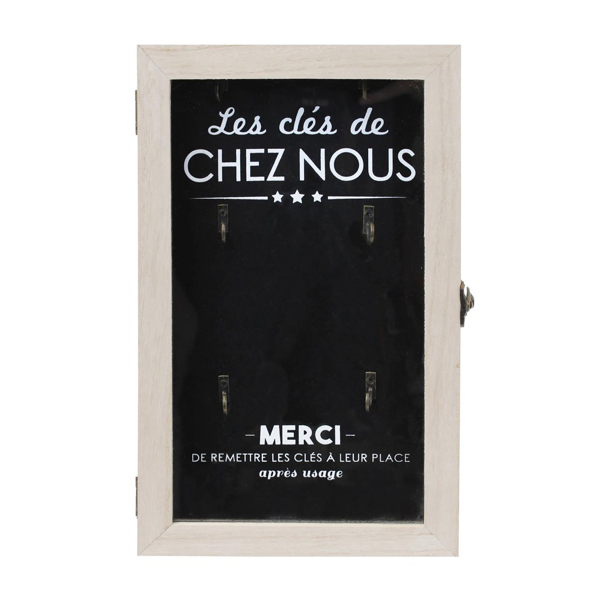 Les Tresors De Lily [Q0790] - Box with yoghurt1008idxx wood 'Message' black beige (keywords from us)(6 hooks)- 30x19x5 cm (11.81''x7.48''x1.97'').