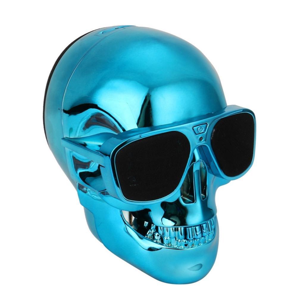 Portable Wireless Speaker Shape Plastic Skull Metallic Subwoofer Mobile Speaker (Blue)