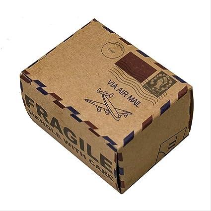 PXNH 10 piezas Diseño de sello Boda Caja de dulces vintage Embalaje de chocolate Caja de regalo Kraft Favores de boda Suministros para fiestas 3.5 * 4.5 * 6 cm sin colgar: Amazon.es: Oficina y papelería