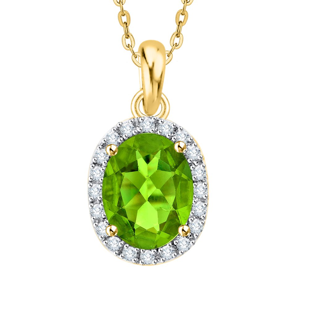 44016659/_W 1 1//4 cttw, G-H, I2-I3 KATARINA Diamond and Oval Cut Peridot Halo Pendant Necklace in Gold or Silver