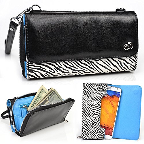 Kroo Zebra Blend Universal Cross-Body Wallet Case for Sky Devices 5.0S, Elite 5.0L 5.0LW, Platinum 5.0Q 5.0W, FUEGO 5.5D 5.0